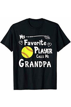 Baseball Softball Sports Fan Designs Co. Softball My Favorite Player Calls Me Grandpa Sports Fan T-Shirt
