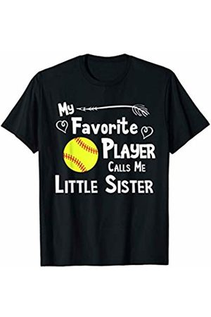 Baseball Softball Sports Fan Designs Co. Softball Favorite Player Calls Me Little Sister Sports Fan T-Shirt