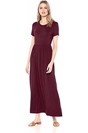 Amazon Solid Short-Sleeve Waisted Maxi Dress Casual