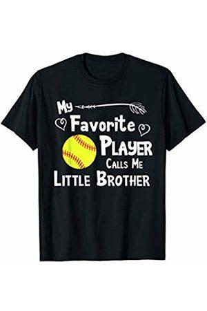 Baseball Softball Sports Fan Designs Co. Softball Favorite Player Calls Me Little Brother Sports Fan T-Shirt