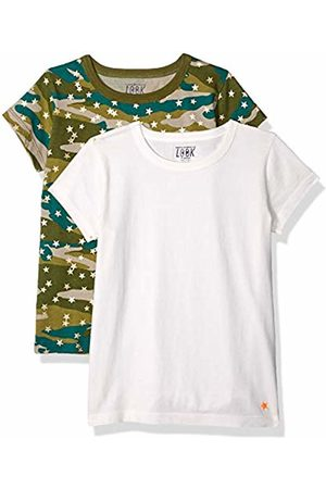 LOOK by crewcuts Girls' 2-Pack Graphic/Solid Short Sleeve T-Shirt Camo/