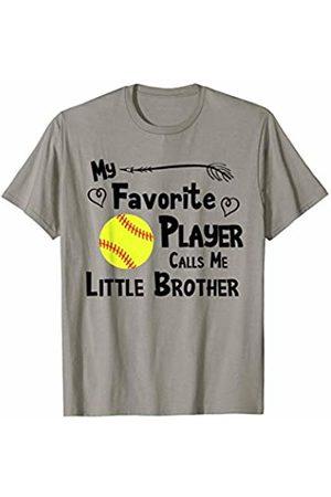 Baseball Softball Sports Fan Designs Co. Women T-shirts - Softball Favorite Player Calls Me Little Brother Sports Fan T-Shirt