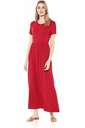 Amazon Solid Short-Sleeve Waisted Maxi Dress Casual