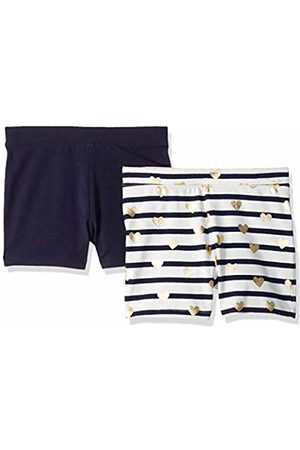LOOK by crewcuts Girls' 2-Pack Tumble Short Stripe and Heart/Navy