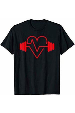 Medical Career Designs for Nurses, Doctors, EMT's. Nurse Motivational Gym Design Red Heart EKG Barbell T-Shirt
