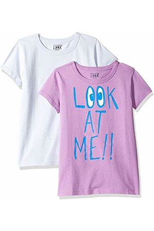 LOOK by crewcuts Girls' 2-Pack Graphic/Solid Short Sleeve T-Shirt Look at Me/