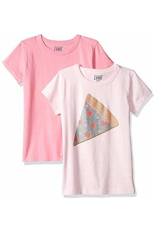 LOOK by crewcuts Girls' 2-Pack Graphic/Solid Short Sleeve T-Shirt Glitter Pizza/
