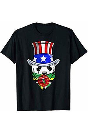 Dominican Pride RobustCreative Tees Dominican Panda Bear in Dominica Bandana Flag T-Shirt