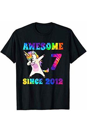 Tie Dye Rainbow Creations Kids Birthday Apparel Co Awesome Since 2012 Dabbing Unicorn Tie Dye Age T-Shirt