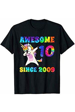 Tie Dye Rainbow Creations Kids Birthday Apparel Co Awesome Since 2009 Dabbing Unicorn Tie Dye Age T-Shirt