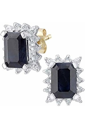 Naava Women's Diamond and Sapphire 9 ct Earrings