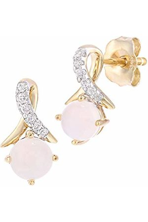 Naava 9ct Yellow Gold Round Opal and Diamond Twist Drop Earrings of 46cm