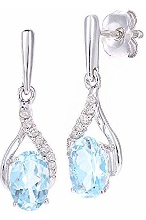 Naava 9ct White Gold Oval Topaz and Diamond Twist Drop Earrings of 46cm