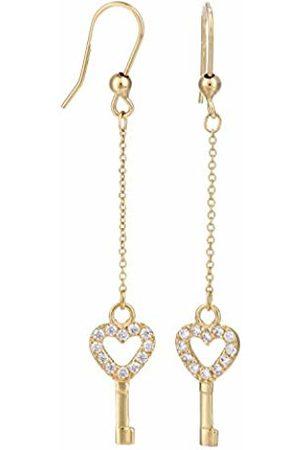Citerna Women's 9 ct Yellow Chain Heart Key Earrings