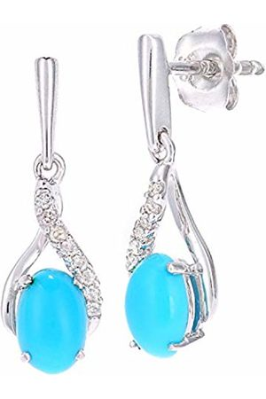 Naava 9ct White Gold Oval Turquoise and Diamond Twist Drop Earrings