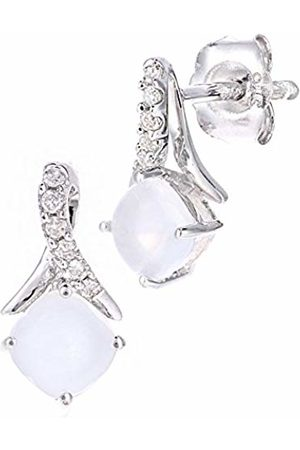 Naava 9ct Gold Square Opal and Diamond Twist Drop Earrings