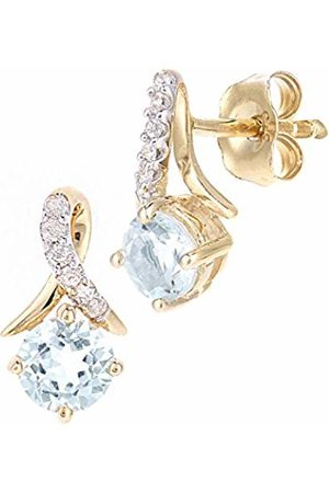 Naava 9ct Yellow Gold Round Topaz and Diamond Twist Drop Earrings of 46cm