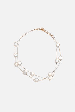 Zara Natural-coloured pearl bead necklace