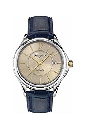 SALVATORE FERRAGAMO Time Men's Automatic Watch with Sand Dial and Blue Leather Strap FFT010016
