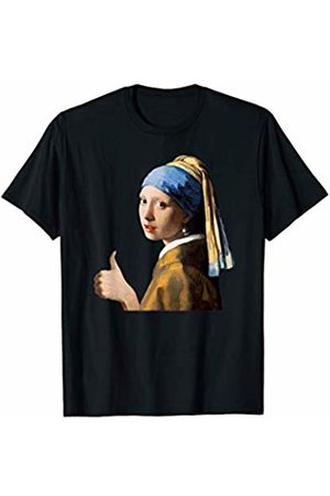 Funny Art History Thumbs-Up Girl with Pearl Earring Positive Feminist Artwork T-Shirt