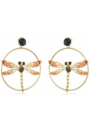 MISIS Lillybeth Women's Earrings 925 Silver Rose Gold Plated Cz Round Cut Black Onyx OR08269 7 CM