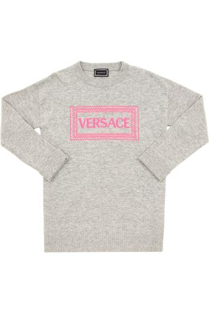 VERSACE Girls Knitted Dresses - Logo Embroidered Wool Blend Knit Dress