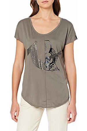 True Religion Women's T Shirt 2 Logo Dusty Olive 3501