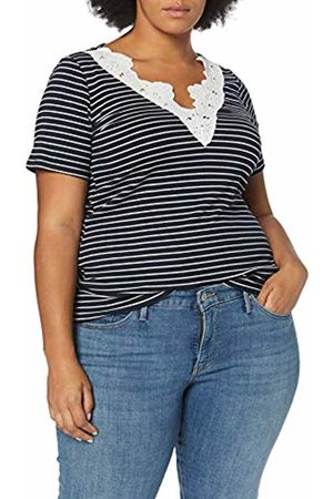Dorothy Perkins Women's LACE Trim V-Neck TOP Stripe Print Blouse