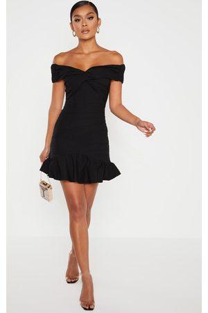 PRETTYLITTLETHING Women Bodycon Dresses - Bardot Shirred Pleated Bodycon Dress
