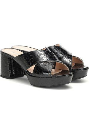 Prada Croc-effect patent leather sandals
