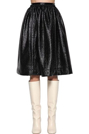 Marni High Waist Faux Patent Leather Skirt