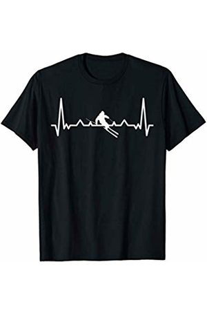 Skiing winter heartbeat fun shirts My heart beats for skiing - Winter Sport Heartbeat Fun T-Shirt