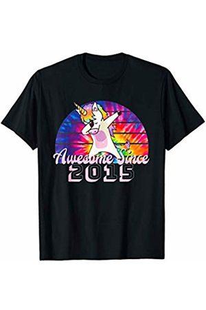 Tie Dye Rainbow Unicorn Dabbing Kids Birthday Co Awesome Since 2015 Unicorn Dab Tie Dye Rainbow Sunset T-Shirt