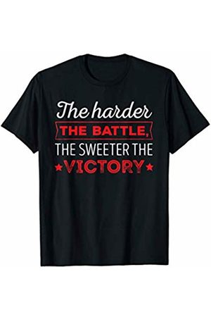 BullQuack Fitness Harder the Battle Sweeter the Victory - Fitness Gym Quote T-Shirt