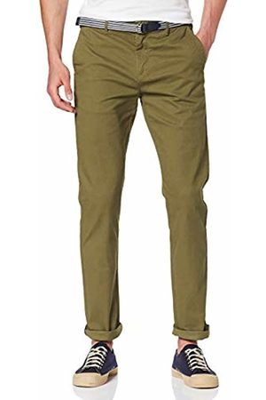 Scotch&Soda Men's AMS Blauw Stuart Chino with Belt in Stretch Peached Quality Trouser