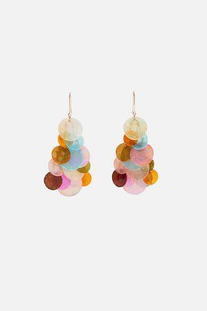 Zara Iridescent scale-effect earrings