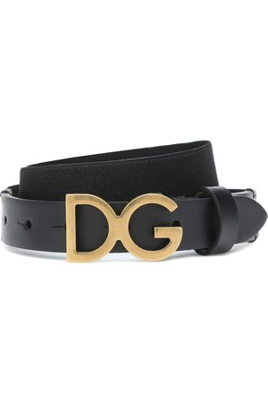 Dolce & Gabbana Kids Logo leather-trimmed belt