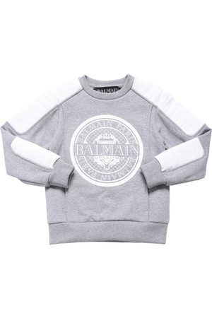Balmain Flocked Logo Cotton Sweatshirt