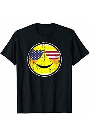 Patriotic Smiley Face Co. Vintage Patriotic Smiley Face Happy Face USA Flag Sunglasses T-Shirt