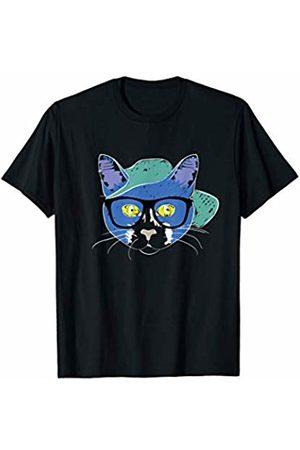 Cat FunnySunny T-Shirts Cat In Glasses & Cap Cool Watercolor Design Cat Lovers Gift T-Shirt