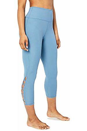 "CORE Women's Lattice 7/8 Yoga Crop 24"" Leggings, Blue (denim)"
