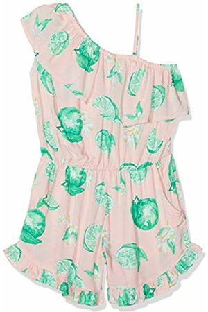 Name it Girl's Nkfheather Ss Playsuit Dungarees, Strawberry Cream