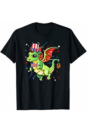 Patriotic Apparel by BUBL TEES Green Dragon American Flag Top Hat July 4th Independence T-Shirt