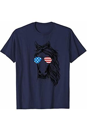 Patriotic USA Aviator Animal Gifts Cute Horse Patriotic USA Flag Aviator Glasses Design T-Shirt