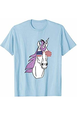 Patriotic Apparel by BUBL TEES Unicorn With American Flag USA Aviator Sunglasses T-Shirt