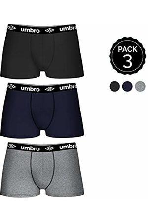 Umbro Men's Set De 3 Boxers (3multicolor) -100% 35% Algodón / 65% Poliéster -Color Negro/gris/Marino Shorts