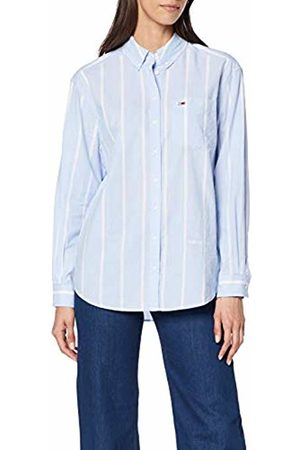 Tommy Hilfiger Women's Tjw Stripe Detail Shirt Blouse, (Serenity/Classic 400)