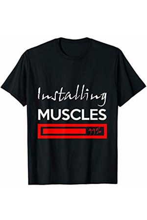 Joseph Designs Funny Fitness Installing Muscles Please Wait Workout t-shirt