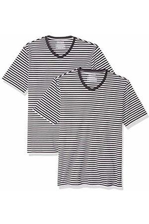 Amazon Slim-Fit Short-Sleeve Stripe V-Neck T-Shirts / (Pack of 2) Medium