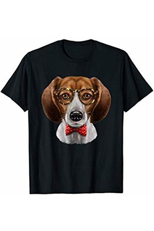 Fox Republic T-Shirts Beagle Dog in Classic Eyeglass and Bow Tie T-Shirt